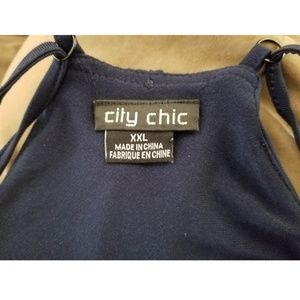 City Chic Dresses - City Chic Slinky Wrap Dress in French Navy XXL
